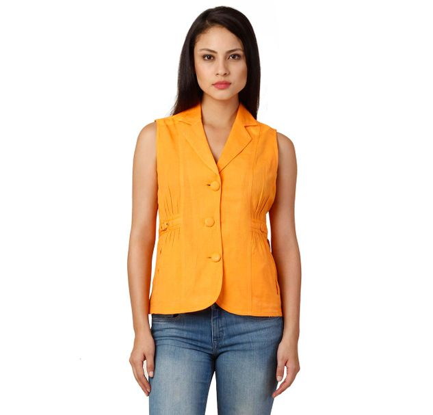 Women Orange Sleeveless Blazer