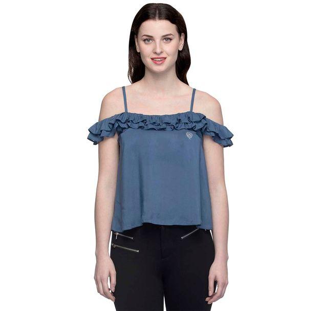 Women Blue Flared Off Shoulder Top