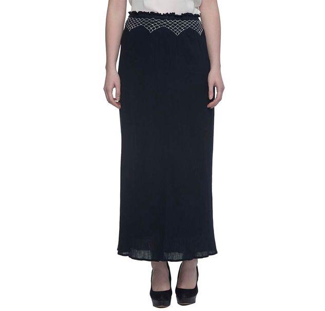 Women Black Skirt With Embroidered Waistline