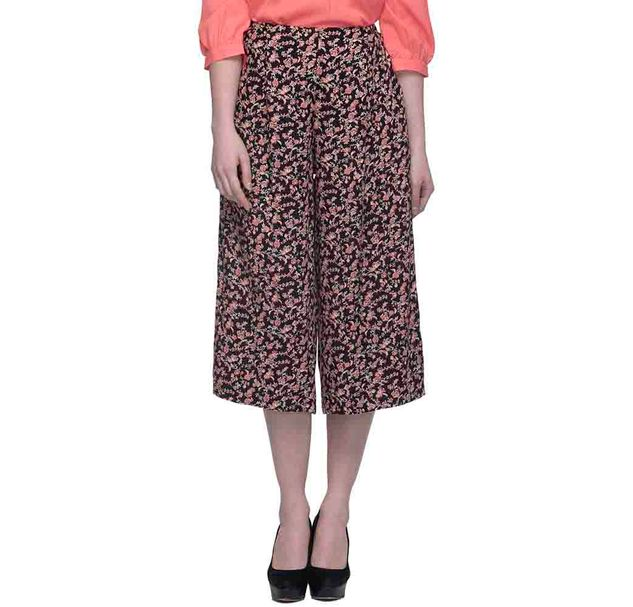 Women Black And Red Floral Culottes