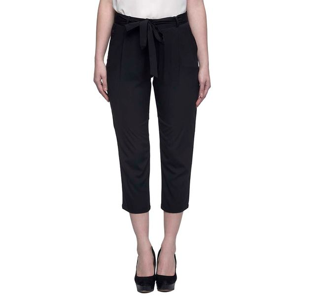 Black Solid Cropped Pants
