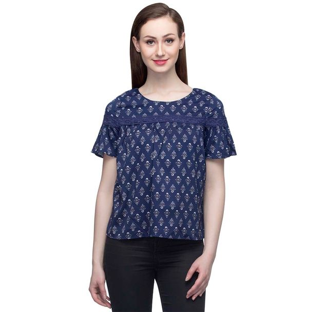 Navy Blue Printed Top With Short Bell Sleeves