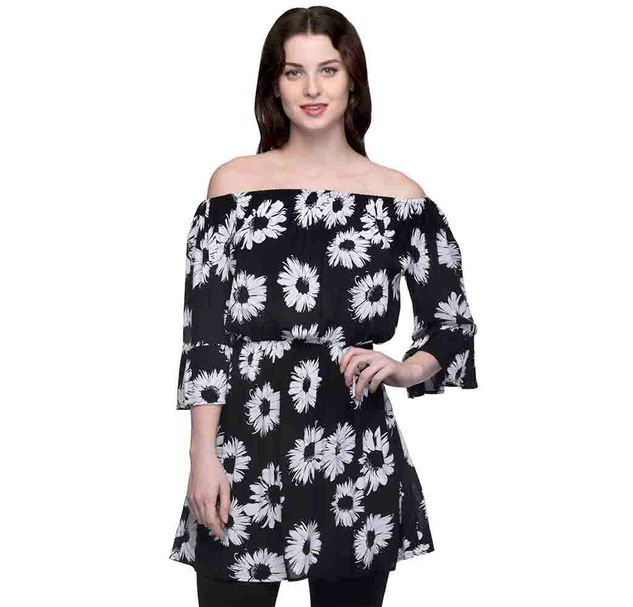 Black And White Floral Off Shoulder Tunic