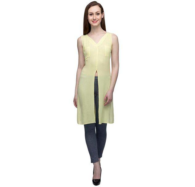 Yellow Sleeveless Tunic With Slit