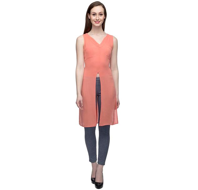Coral Sleeveless Tunic with slit