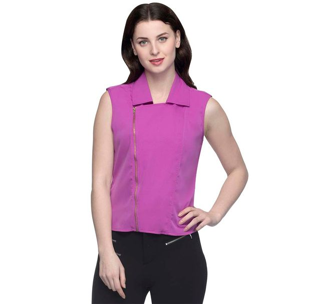 Solid Pink Top With Front Zipper