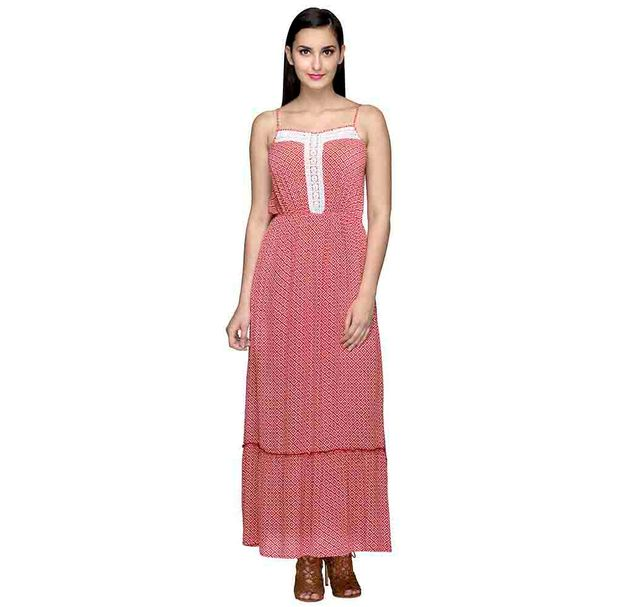 Red Printed Sleeveless Maxi Dress