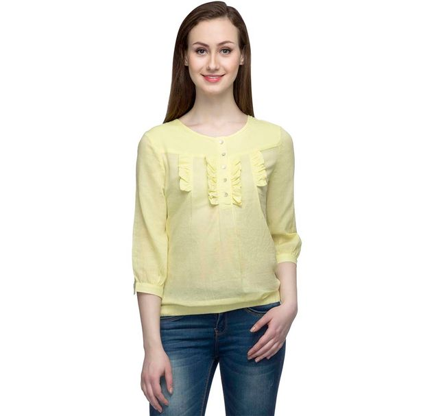 Yellow Top With Frill Detail