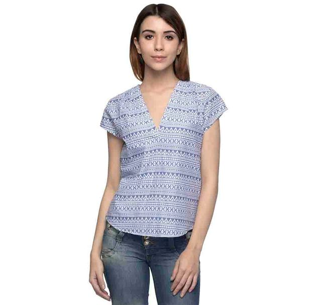 Blue And White Printed Short Sleeve Top