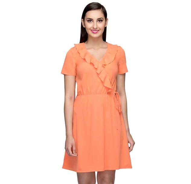 Orange Solid Short Dress