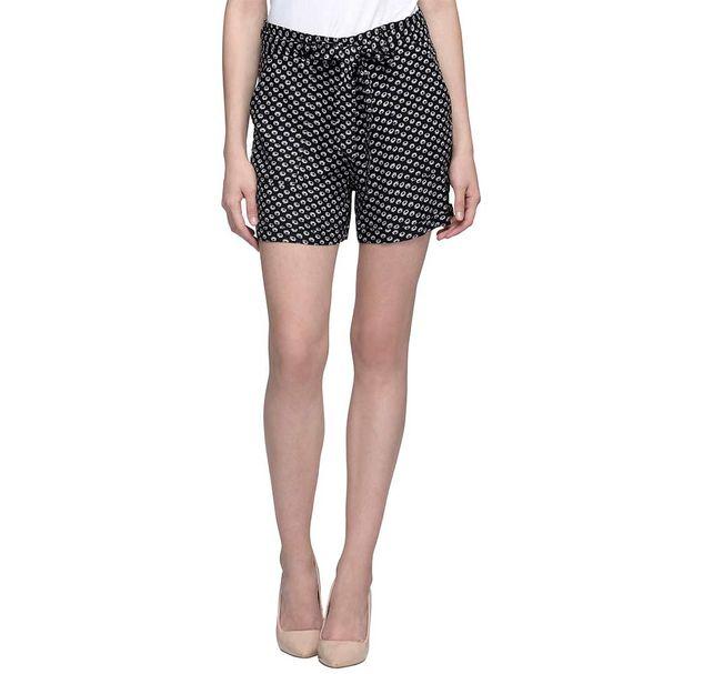 Black Printed Shorts