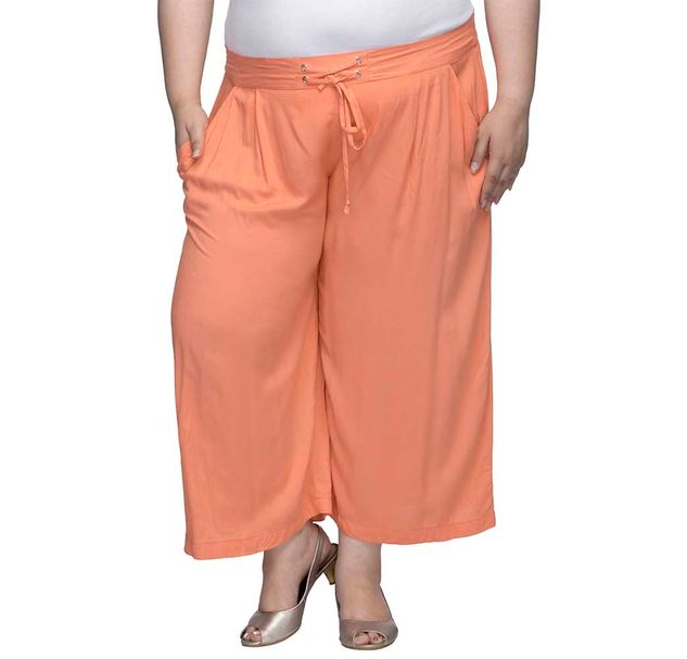 Solid Trouser With Tie Up At The Waist