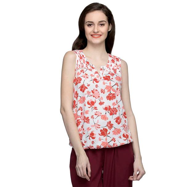 Floral Sleeveless Top With V Cut On Neck
