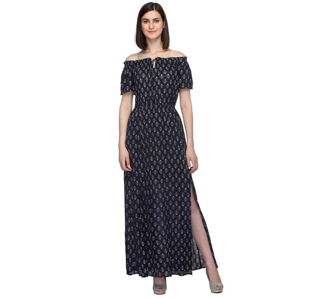 Navy Blue Printed Off-Shoulder Dress