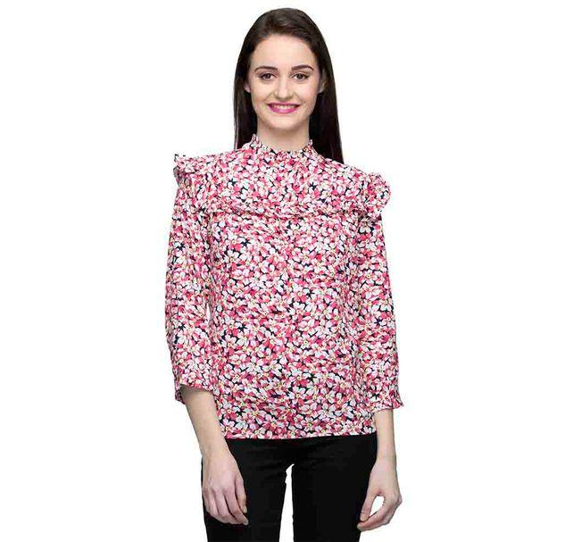 Chinese Collar Polka 3/4Th Sleeve Top