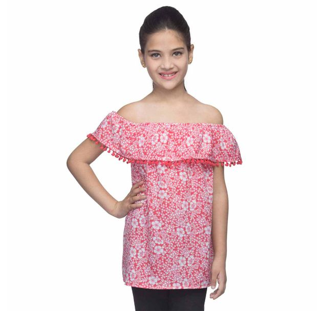 Girls Printed Off-Shoulder Dress