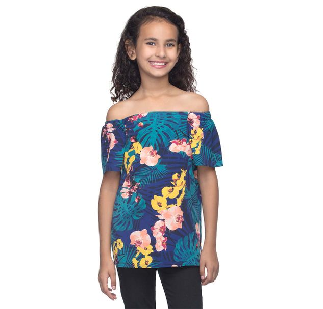 Girls Off-Shoulder Tropical Top