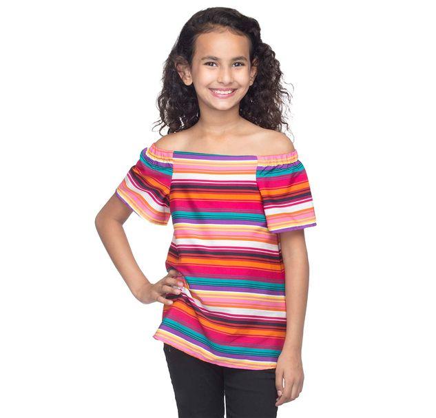 Girls Off-Shoulder Striped Top