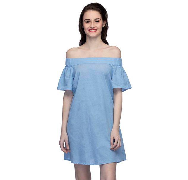 Blue Solid Off-Shoulder Dress