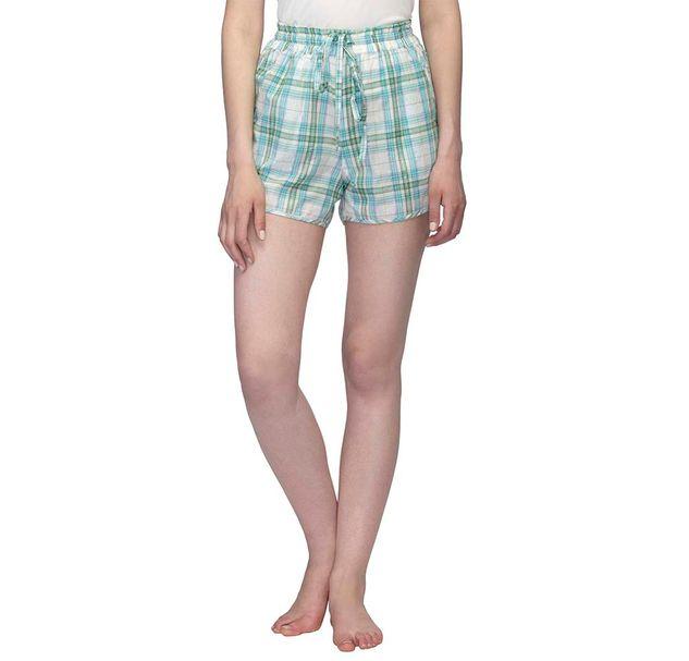 Green Checkered Nightwear Shorts