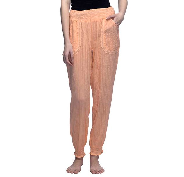 Peach Solid Nightwear Pajama