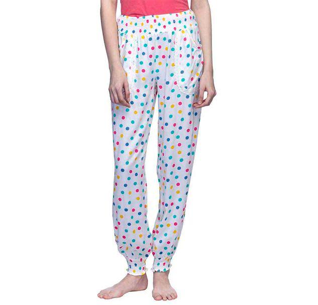 White Polka Dots Print Pajama