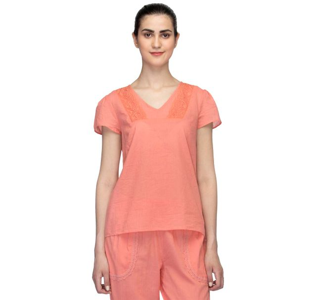 Solid Nightwear Lace Top
