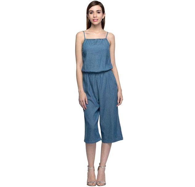 Blue Cropped Jumpsuit