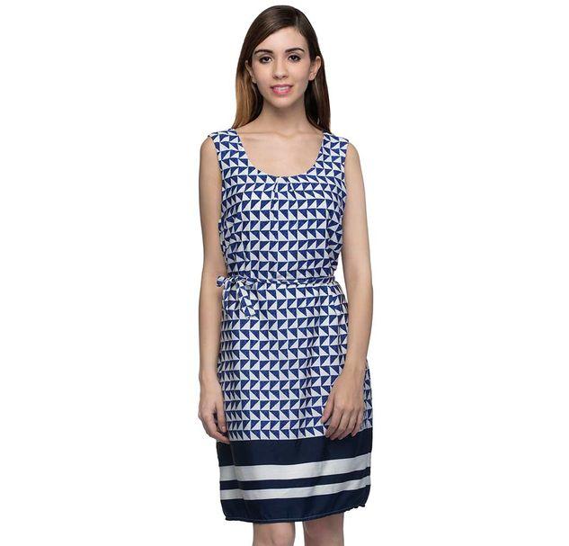 Printed Blue Midi Dress