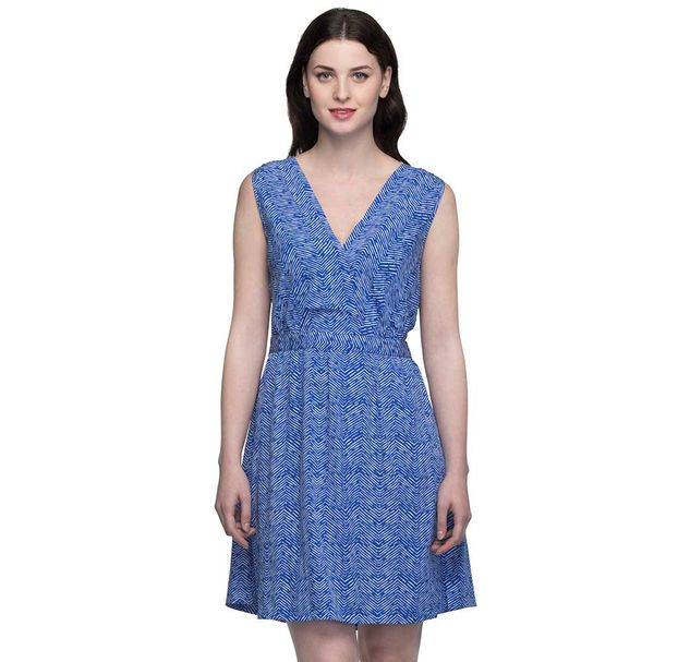 V Neck Blue Shift Dress