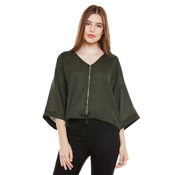 Green Boxy Jacket With Zipper