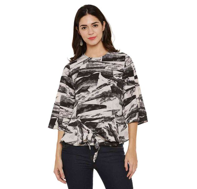 Black Abstract Print Top