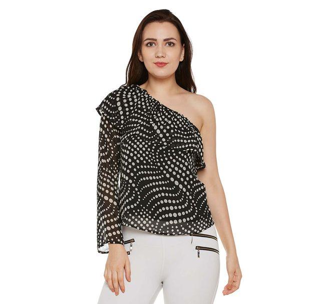 Black Polka Dots Print One-shoulder Top