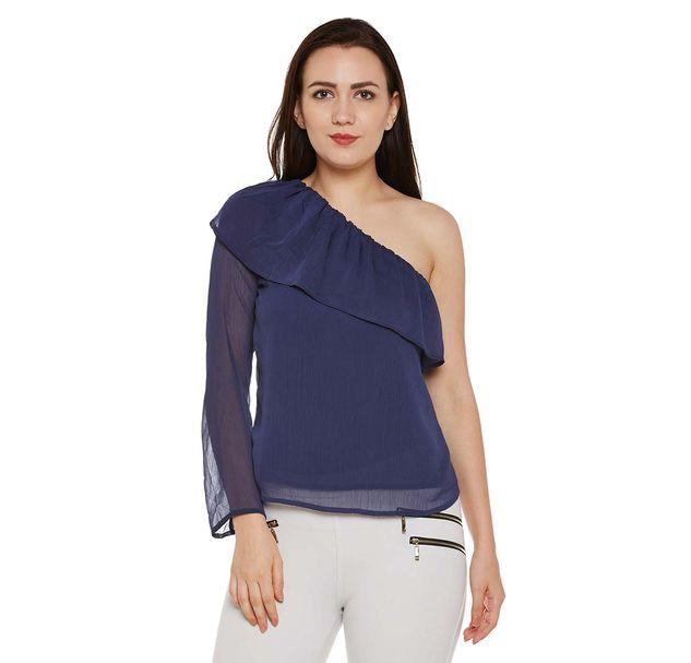 Blue Solid One-shoulder Top