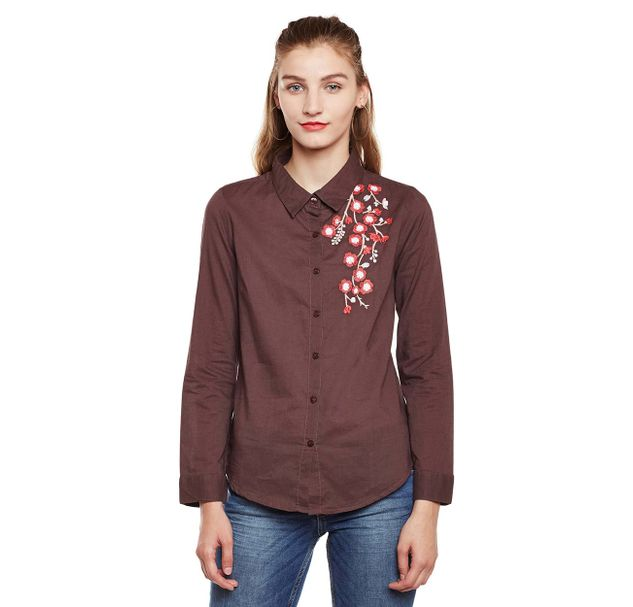 Brown Embroidered Shirt