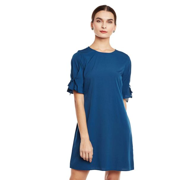 Blue Solid Shift Dress