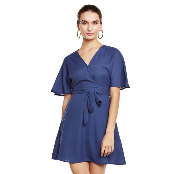 Blue Solid Wrap Dress