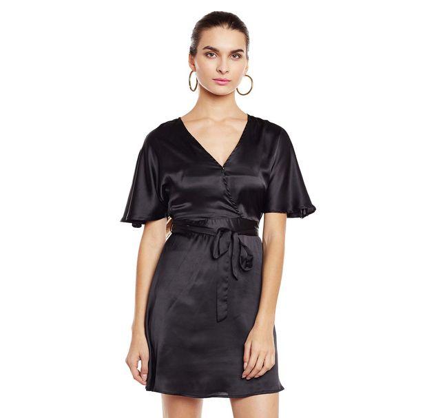 Black Solid Wrap Dress