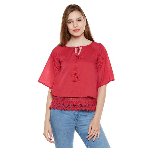 Red Lace Top With Tussles