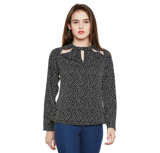 Dot Print Cut-out Top