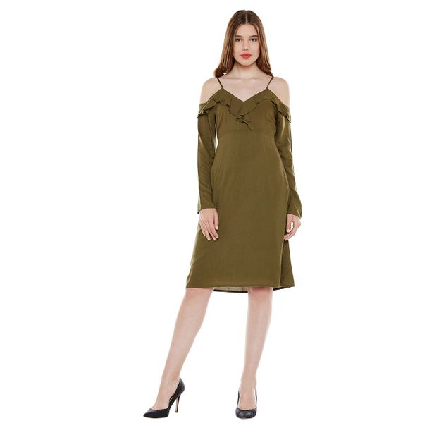 Green Solid Strap Dress