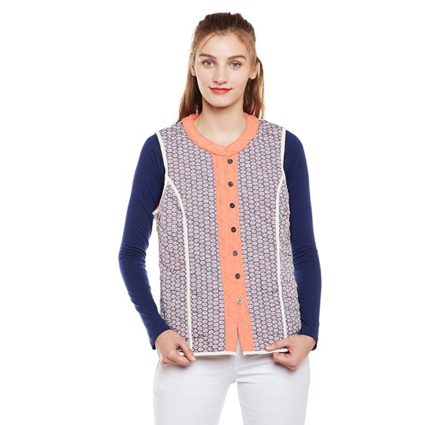 Printed Sleeveless Jacket
