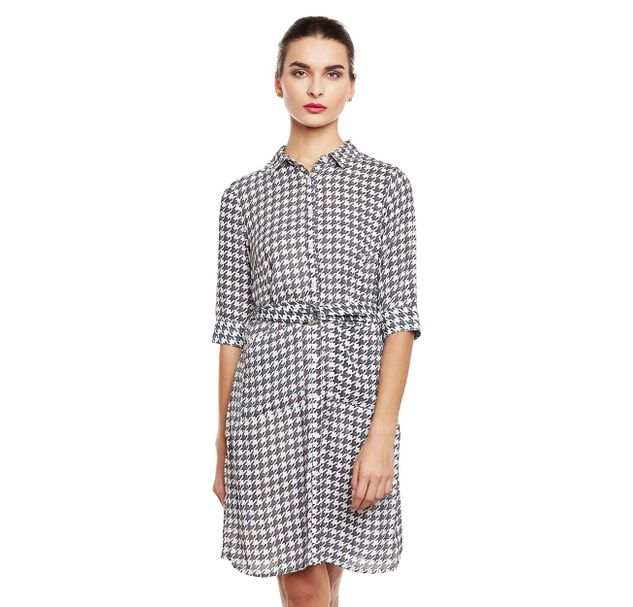 Black & White Checkered Shirt Dress