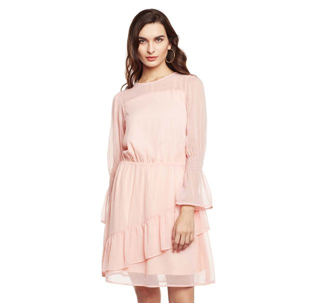 Pink Flared Sheer Dress