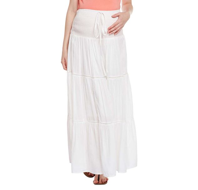 White Elasticated Maternity Skirt