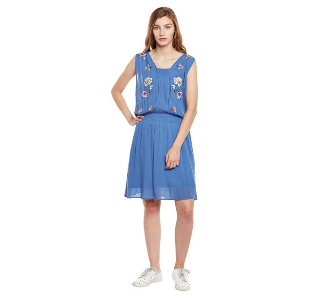 Embroidered Blouson Dress