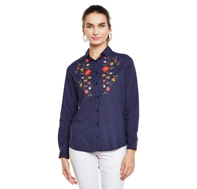 Navy Embroidered Shirt
