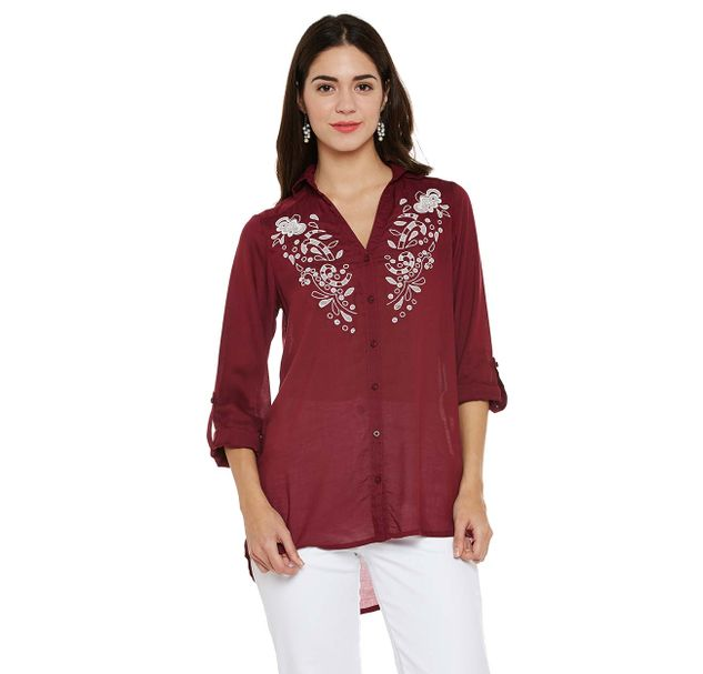 Maroon Embroidered Shirt