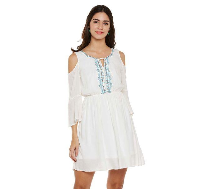 Off-White Cold Shoulder Dress