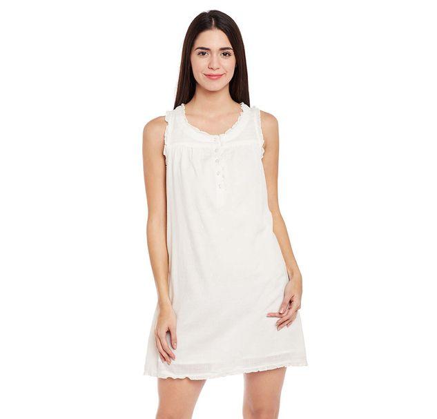 Off-White Solid Night Wear Dress